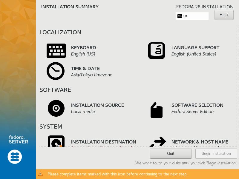 fedora 28 インストール server world