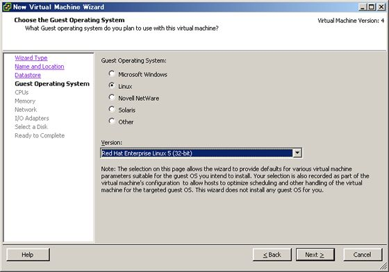 CentOS 5 - VMware ESXi Server - Create Virtula Machine