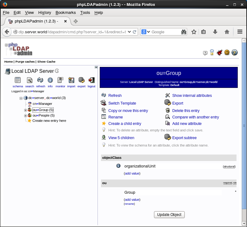 CentOS 6 - OpenLDAP - phpLDAPadmin#2 - Add a Group : Server