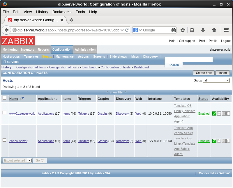 CentOS 6 : Zabbix : Add monitoring item : Server World