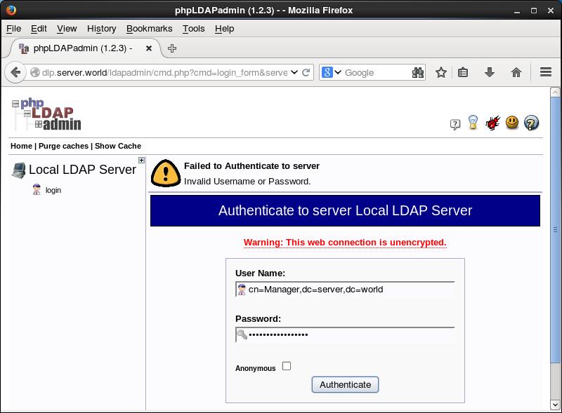 CentOS 7 : OpenLDAP : Install phpLDAPadmin : Server World