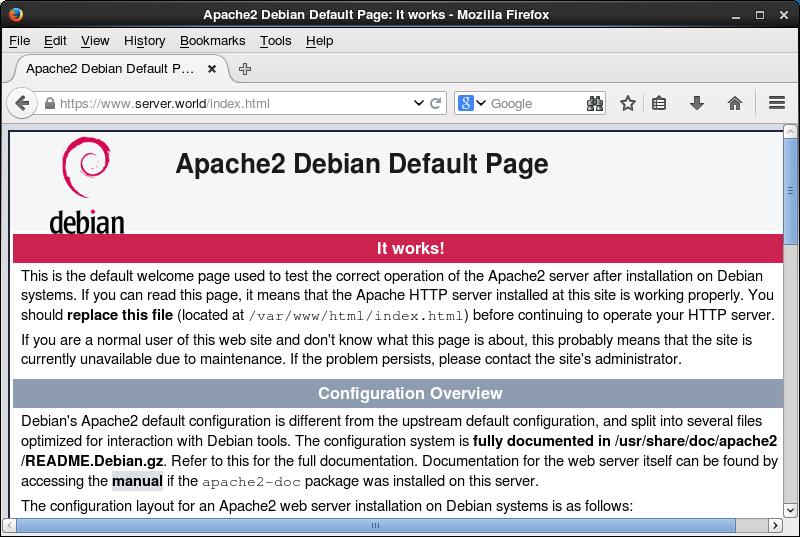 Debian 8 Jessie Apache2 Ssl Settings Server World
