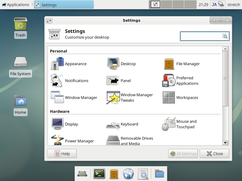 Debian 9 Stretch : Xfce Desktop Environment : Server World