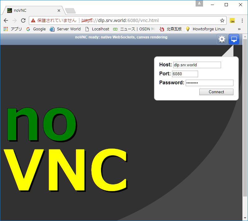 Debian 9 Stretch : VNC Client : noVNC : Server World