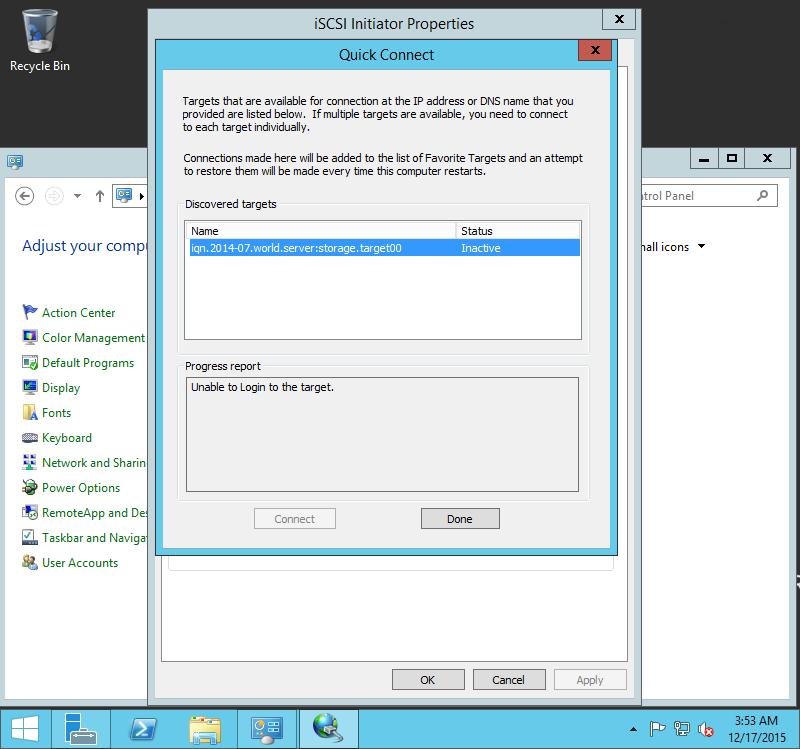 Debian 9 Stretch : Configure iSCSI Initiator(Windows