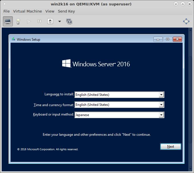 qemu install windows server 2016