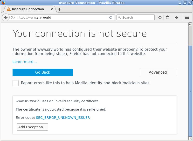 Fedora 27 : Apache httpd : SSL Settings : Server World