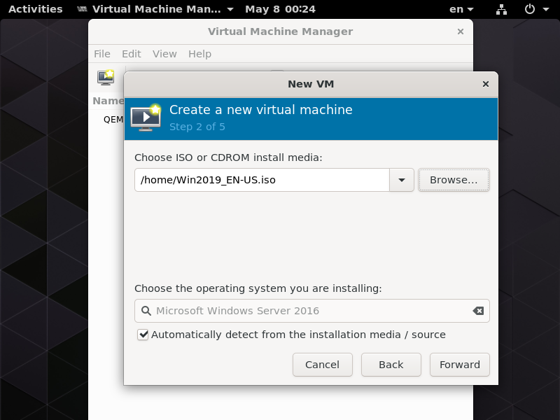 Fedora 30 : KVM : Create Virtual Machine (GUI) : Server World