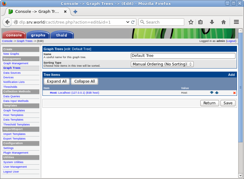 Ubuntu 16 04 LTS : Cacti : Add Monitoring Host : Server World