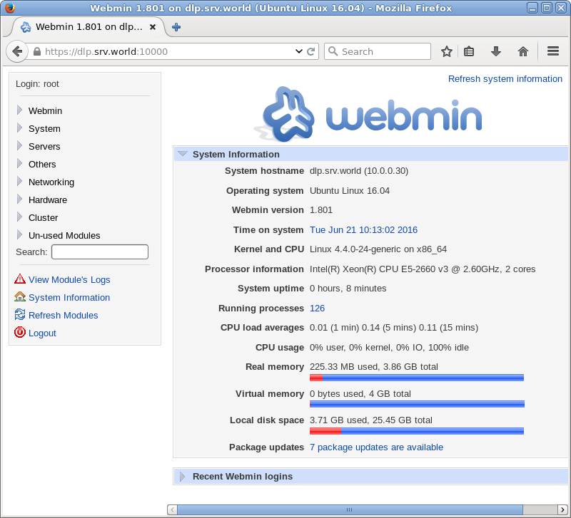 Ubuntu 16 04 LTS : Install Webmin : Server World