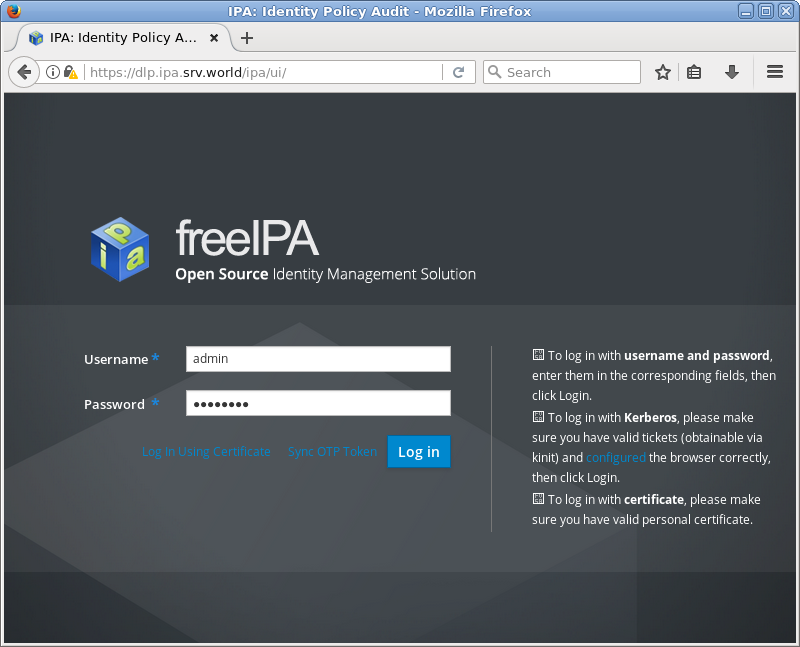 Ubuntu 18 04 LTS : FreeIPA : Web Admin Console : Server World