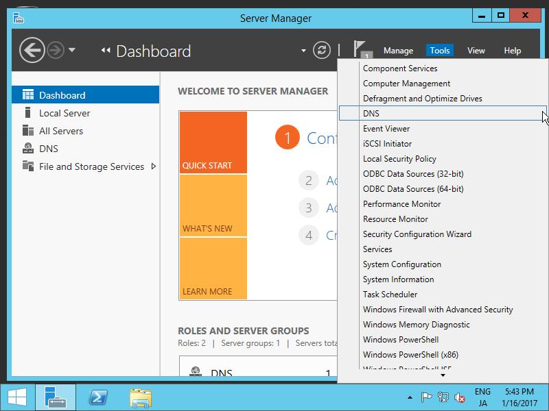 Windows Server 2012 R2 : DNS Server : Add Forward lookup