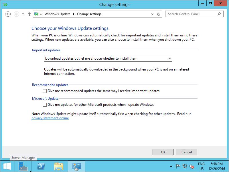 Windows Server 2012 R2 : Initial Settings : Windows Update