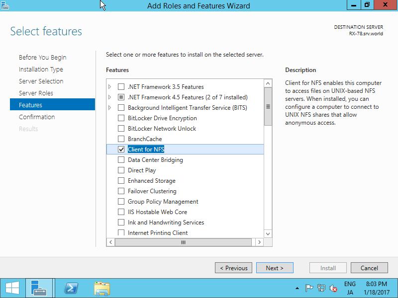 Windows Server 2012 R2 : Configure NFS Client#1 : Server World