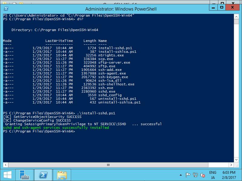 Windows Server 2012 R2 : Install OpenSSH : Server World