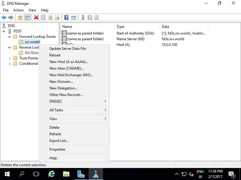 Windows Server 2016 : DNS Server : Add A/PTR record : Server