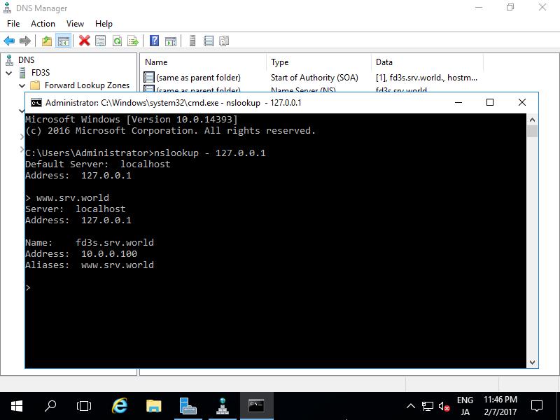 Windows Server 2016 : DNS Server : Add CNAME record : Server