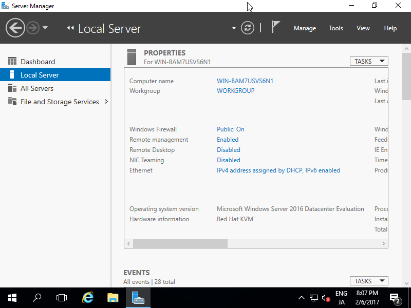 Windows Server 2016 : Initial Settings : Change Computer Name