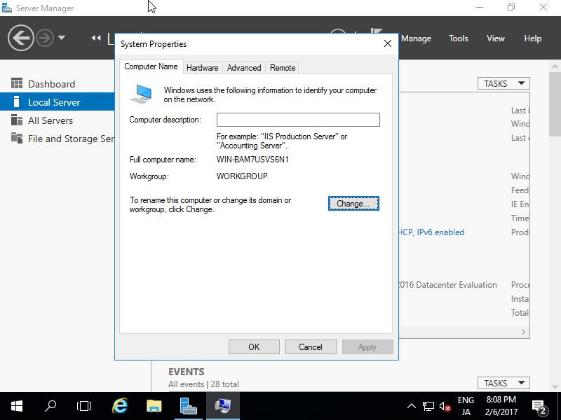 Windows Server 2016 : Initial Settings : Change Computer