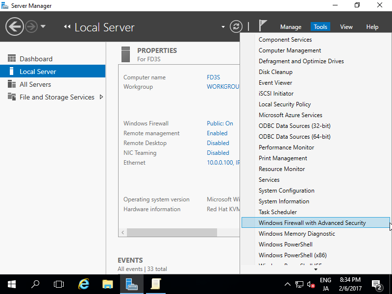 Windows Server 2016 : Initial Settings : Allow ICMP Echo