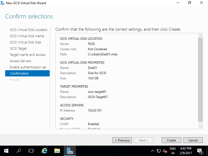 Windows Server 2016 : Configure iSCSI Target : Server World