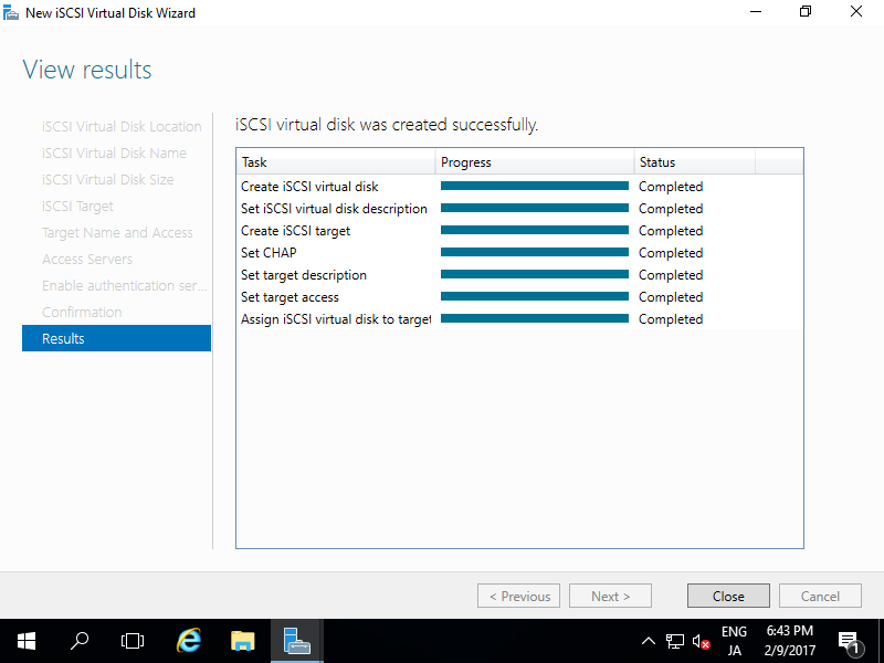 how to create iscsi target in windows 2016