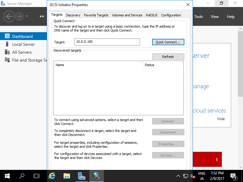 Windows Server 2016 : Configure iSCSI Initiator#1 : Server World