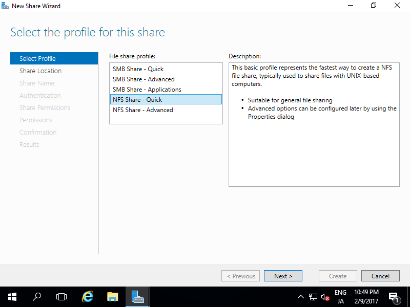 Windows Server 2016 : Configure NFS Shared Folder : Server World