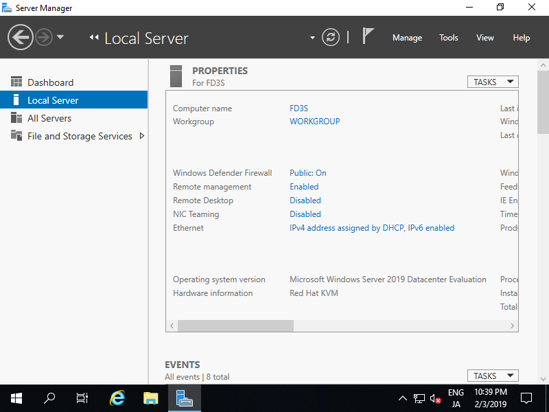 Windows Server 2019 : Initial Settings : Set Static IP Address
