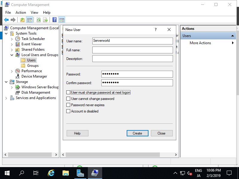 Windows Server 2019 : Initial Settings : Add Local User