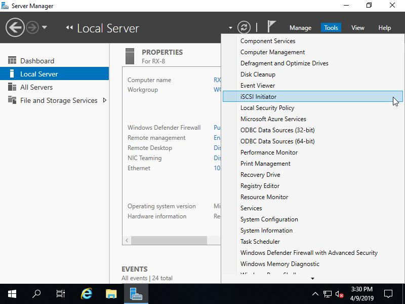 Windows Server 2019 : iSCSI : Configure iSCSI Initiator